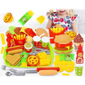 Pretend Play Food Set Fast Food Playset w/ Tray Hamburger Hotdog Kids Cook Toys
