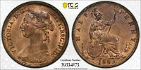 PCGS MS-64 RED-BN GREAT BRITAIN HALFPENNY 1/2 PENNY 1883 (ROSE ON DRESS, SCARCE)