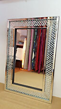 Large Floating Crystal Rectangle Wall Mirror Glass Diamond Frame 120x80cm Bling