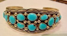 NATIVE AMERICAN STERLING SILVER AND BLUE TURQUOISEL PETITPOINT BRACELET (C)