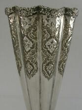 LARGE PERSIAN 84 SOLID SILVER VASE c1950 HEAVY 190g EASTERN