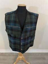 Woolrich Men's XL Green Blue Tartan Plaid Wool Hunting Vest Pockets Nice!
