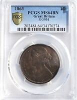 1863 Victoria Penny 1d MS64BN PCGS Great Britain S-3954