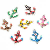 10X Enamel Anchor Connectors Fit Bracelet Jewelry Making Handmade Findings Craft