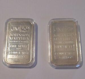 2 Lot 1 Troy Ounce Each Fine Silver Bullion Bars Johnson Matthey JM In Capsules