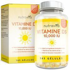 Vitamine D3 10000 IU - 365 Gélules - Articulations Os Et Dents En Bonne Santé...