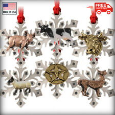 Pewter Barnyard Animals Snowflake Christmas Tree Ornaments, Made in the Usa