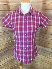 Marmot Women's Purple Button Front Plaid Short Sleeve Blouse Size Extra Small