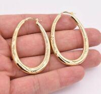 "2"" 50mm Graduated Diamond Cut Oblong Hoop Earrings Yellow Gold Clad Silver 925"