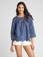 GAP Eyelet Long Sleeve Print Blouse S Blue Floral 100% Cotton NWT $70