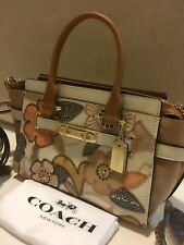 Coach Swagger 27 w/ Patchwork Tea Rose & Snakeskin Detail Handbag Crossbody Bag