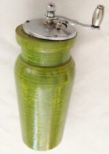 "Green Wood 6"" Pepper Mill w Silvertone Crank"