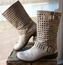NEW JEANNOT BOOTS BEIGE ITALIAN LEATHER STUDDED WOMEN'S BOOTS LADIES SHOES