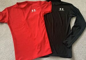 Under Armour Men's Shirts Compression Red/Black Size MD Medium
