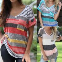 Women Fashion V-Neck Stripe Print Short Sleeve Top Pocket Blouse T-shirt