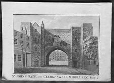 1795 Boswell Antique Print of St Johns Gate, Clerkenwell London England