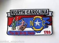 US NORTH CAROLINA STATE NAME MAP EMBROIDERED PATCH 1.75 X 3 INCHES