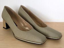 STUART WEITZMAN Bronze Metallic Square Toe Fabric Leather Pumps Heels Size 7 AA