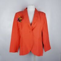 Diane Von Furstenberg Sz Large Silk Assets Orange Womens Button Front Blazer