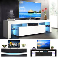 High Gloss LED Light TV Stand Unit Console Cabinet with Shelves Drawers or Doors