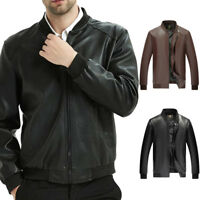 Men's PU Leather Slim Fit Jackets Bikers Motorcycle Casual Jacket Outwears Tops
