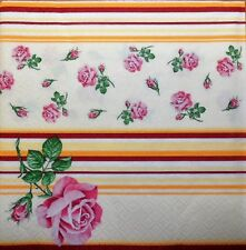 20 x PAPER NAPKINS  FULL PACK - pink roses, stripes - PARTY  LUNCH  table 118
