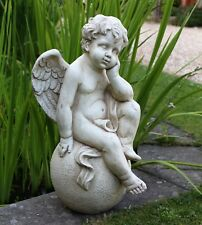 Large Magical Fairy Angel Cherub Garden Ornament Stone Figurine Statue 55cm tall