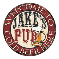 CPMP-0419 COLD BEER HERE JAKE'S PUB Chic Tin Sign Man Cave Decor Gift