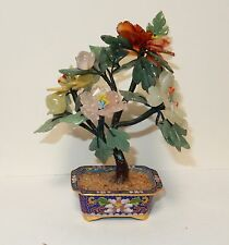 CLOISONNE ENAMEL JADE,AGATE & ROSE QUARTZ STONE BLOSSOM SMALL TREE