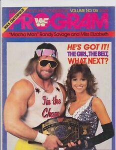 WWF Wrestling Program 135 Macho Man Randy Savage Miss Elizabeth 1986 Vintage