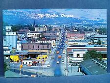 Postcard OR The Dalles Vintage Town Street View Standard Shell Texaco Stations