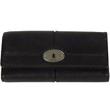FOSSIL Leder Geldbörse MADDOX FLAP CLUTCH Geldbeutel Damen Portemonnaie Black