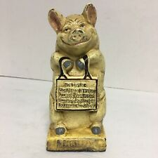 Vintage Thrifty The Wise Pig Cast Iron Piggy Bank