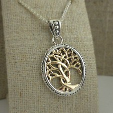 10K & Sterling Silver Celtic Tree of Life Pendant KEITH JACK Jewelry Gift Boxed