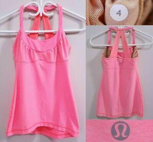 Lululemon Bright Peach Tank Top Size 4 XS Yoga Racerback Scoop Neck Shirt Bra