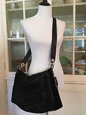 Diane von Furstenberg Kaitlin Messenger Bag, Black Chain-Link Leather and Suede
