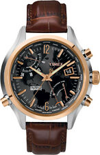 Timex Men's Watch World Time T2N942 Iq Serie (Leather Band Braun)