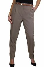 NEW (1539) Tapered Leg Smart Soft City Trousers FREE Belt Size 8-22