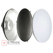 "16.5"" SILVER Beauty Dish + Honeycomb Grid + Diffuser - Bowens S Type Mount 42cm"