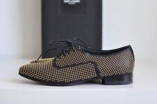 NIB Auth YSL Yves Saint Laurent Studded Leather Oxfords Moccasins sz 8.5 / 38.5