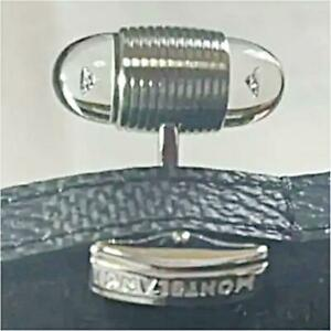 Montblanc Cufflinks Stainless Steel Diamond 0.12 Carat Mint Made in Germany