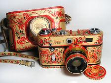 FED-3 Fed-3 Russian RF camera. New design. Stylized as Hohloma. Hand made. EX!