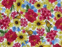 FAT QUARTER FABRIC ETCHING BUTTERFLIES MONARCHS GARDEN FLOWERS KENSINGTON FLORAL