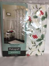 "Pfaltzgraff Winterberry Holiday Christmas Fabric Shower Curtain  70"" x 72"" NEW"