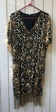 Beaded Silk Vintage Dress Flapper Gatsby Tan-Chho Medium Sequin
