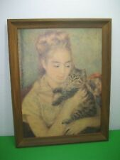 Vintage Picture Print WOMAN WITH CAT by Auguste Renoir VP726 Wood Frame 21x27""