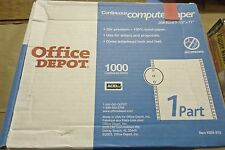 """Office Depot Continuous Feed White Paper 1-Part 20# 9-1/2""""x11"""" QTY = 1000/Count"""