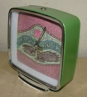 VINTAGE RETRO GREEN METAL FOSSIL ROCK ALARM DESK CLOCK, WORKING