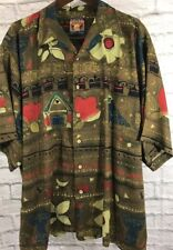 Island Wear XL Mens Shirt Pussers Button Birdhouse Birds Tropical Art
