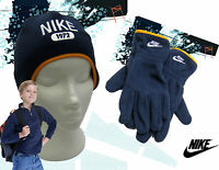 b5b28bf0c8d NIKE 1972 Fleece HAT and GLOVE Set Navy Blue Child AUTHENTIC Small Age 4-5